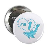 "Dolphin Heart First Birthday 2.25"" Button (100 pac"