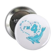 "Dolphin Heart 4th Birthday 2.25"" Button"