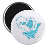 "Dolphin Heart 4th Birthday 2.25"" Magnet (10 pack)"