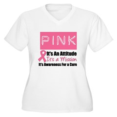 Breast Cancer Mission Women's Plus Size V-Neck T-S