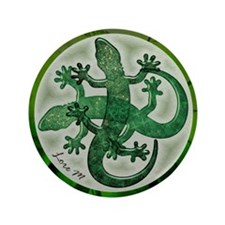 """Green salamanders"" 3.5"" Button"