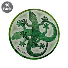"""Green salamanders"" 3.5"" Button (10"