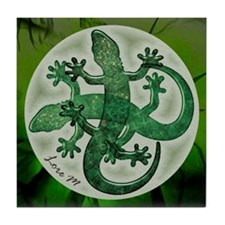 """Green salamanders"" Tile Coaster"