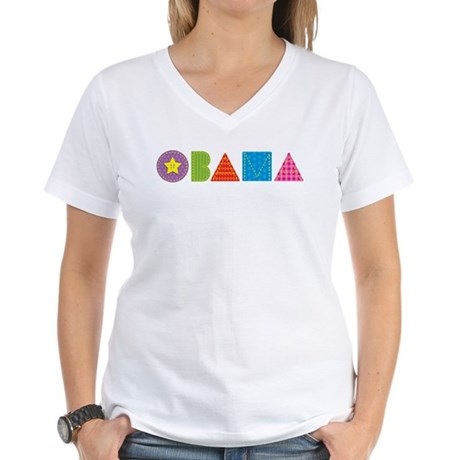 Quilted Obama Women's V-Neck T-Shirt