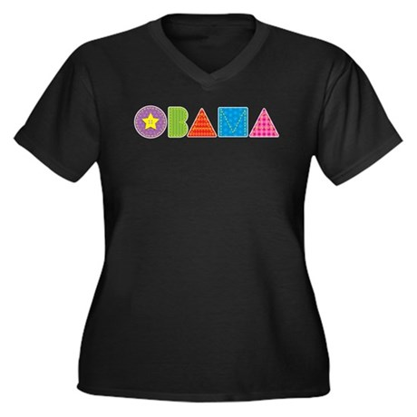 Quilted Obama Women's Plus Size V-Neck Dark T-Shir