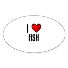 I LOVE FISH Oval Decal