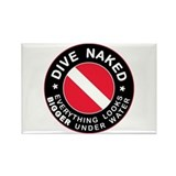 Dive Naked Bigger Under Water Rectangle Magnet