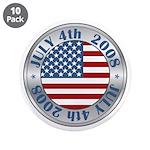 "4th of July Souvenir Flag 3.5"" Button (10 pack)"