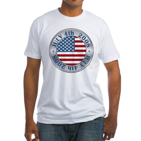 4th of July Souvenir Flag Fitted T-Shirt
