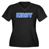 Retro Kirby (Blue) Women's Plus Size V-Neck Dark T