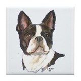 Boston Terrier (white) Tile Coaster