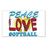 Peace Love Softball Rectangle Decal