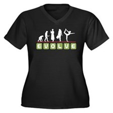 Evolve Yoga Women's Plus Size V-Neck Dark T-Shirt