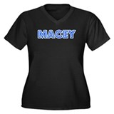 Retro Macey (Blue) Women's Plus Size V-Neck Dark T