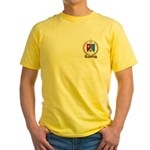 BOISVERT Family Crest Yellow T-Shirt