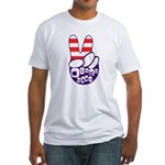 Obama Patriotic Peace Hand Fitted T-Shirt