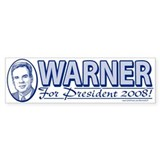 Mark Warner For President 2008 Bumper Bumper Sticker