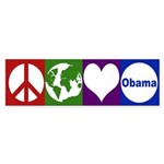 Peace, Earth, Love, Obama bumper sticker