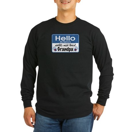 Hello Loved Grandpa Long Sleeve Dark T-Shirt