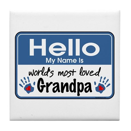 Hello Loved Grandpa Tile Coaster