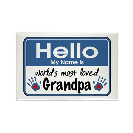 Hello Loved Grandpa Rectangle Magnet