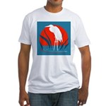 White Crane Fitted T-Shirt