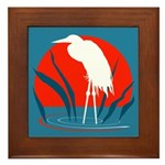 White Crane Framed Tile