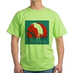 White Crane Green T-Shirt