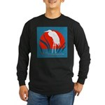 White Crane Long Sleeve Dark T-Shirt