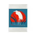 White Crane Rectangle Magnet (100 pack)