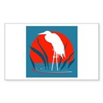 White Crane Rectangle Sticker 10 pk)