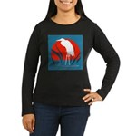 White Crane Women's Long Sleeve Dark T-Shirt