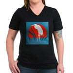 White Crane Women's V-Neck Dark T-Shirt