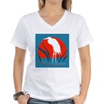 White Crane Women's V-Neck T-Shirt