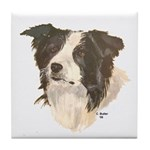 Border Collie (white) Tile Coaster