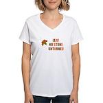 LEAF NO STONE UNTURNED Women's V-Neck T-Shirt