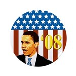 Big Barack Obama '08 flag campaign button