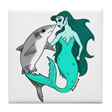 Mermaid and Shark Tile Coaster