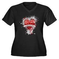 Heart Librarian Women's Plus Size V-Neck Dark T-Sh