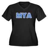 Retro Mya (Blue) Women's Plus Size V-Neck Dark T-S
