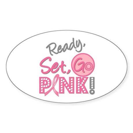 Breast Cancer Go Pink Oval Sticker (10 pk)