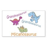 Grandma, Grandpa, & Micahosau Rectangle Decal