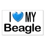 I Love My Beagle Rectangle Sticker