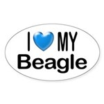 I Love My Beagle Oval Sticker
