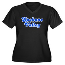 Retro Spokane Valley (Blue) Women's Plus Size V-Ne