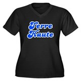 Retro Terre Haute (Blue) Women's Plus Size V-Neck
