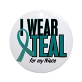 I Wear Teal For My Niece 10 Ornament (Round)