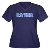 Retro Rayna (Blue) Women's Plus Size V-Neck Dark T