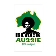 Black Aussie Rectangle Sticker 50 pk)