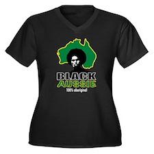 Black Aussie Women's Plus Size V-Neck Dark T-Shirt